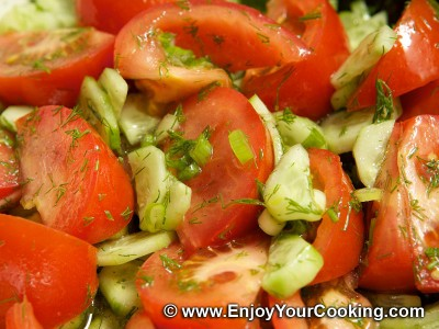 Summer Salad with Tomatoes and Cucumbers
