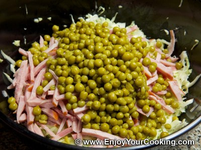 Salad Dnister (Cabbage, Peas and Sausage) Recipe: Step 6