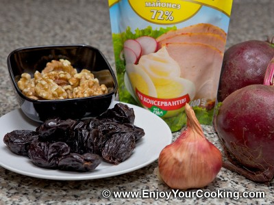 Beet Salad with Prunes and Walnuts Recipe: Step 1