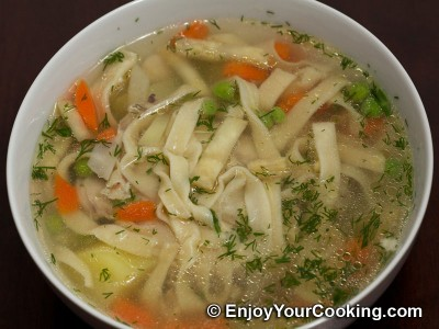 Homemade Egg Noodles in Chicken Soup