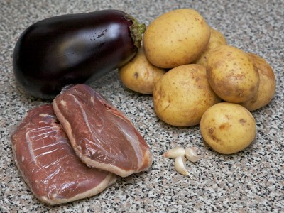 Duck Stewed with Potato and Eggplants Recipe: Step 1