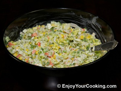 Crab Sticks Salad with Napa and Cucumber Recipe: Step 11
