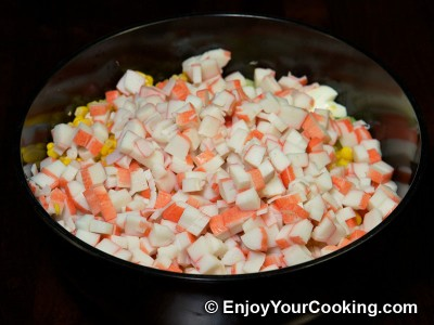 Crab Sticks Salad with Napa and Cucumber Recipe: Step 6