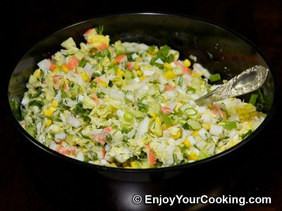 Crab Sticks Salad with Napa and Cucumber Recipe: Step 9