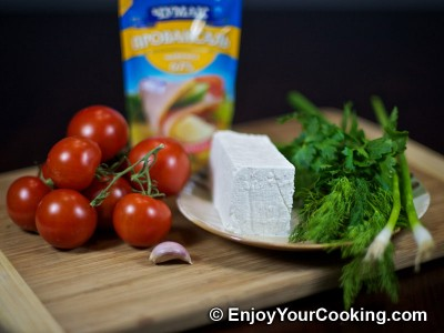 Tomatoes Stuffed with Fresh Cheese Recipe: Step 1
