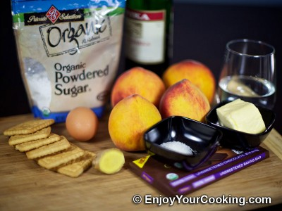 Baked Peaches with Chocolate and Ginger Stuffing Recipe: Step 1