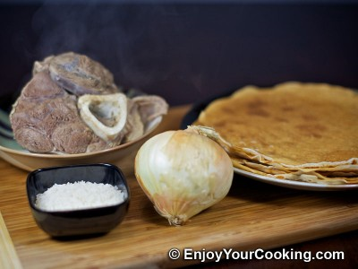 Crepes with Boiled Meat and Rice Stuffing Recipe: Step 1