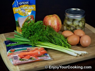 Crab Sticks Salad with Pickled Mushrooms and Apple Recipe: Step 1