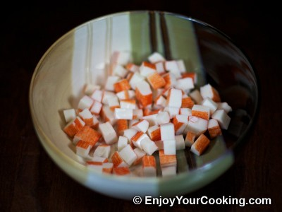 Crab Sticks Salad with Pickled Mushrooms and Apple Recipe: Step 2
