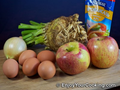 Celery Root Salad with Apples and Eggs Recipe: Step 1