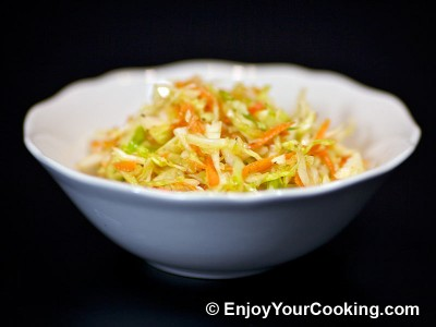 Cabbage and Carrots Salad with Oil