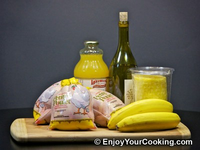 Chicken Roast with Pineapples, Bananas and White Wine Sauce Recipe: Step 1