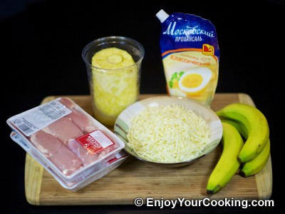 Chicken Meat Roasted with Pineapple and Bananas Recipe: Step 1