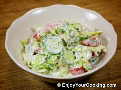 Lettuce, Tomato and Cucumber Salad