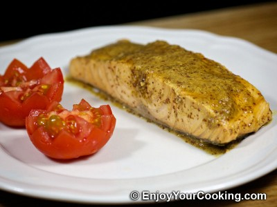 Salmon in Mustard, Lemon Juice and Soy Sauce Marinade
