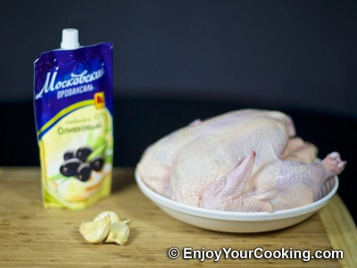 Whole Roasted Chicken with Mayo and Garlic Recipe: Step 1