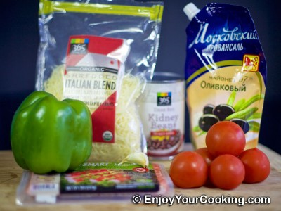 Crab Sticks, Beans, Tomato, Bell Pepper and Cheese Salad Recipe: Step 1