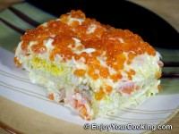 Shrimp, Egg and Potato Layered Salad Recipe