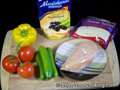 Salad with Chicken and Fresh Vegetables Recipe: Step 1