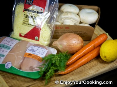 Mushroom and Carrots Stuffed Chicken Casserole Recipe: Step 1