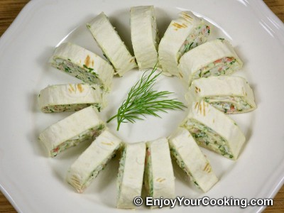 Tortilla Rolls with Crab Sticks and Cheese