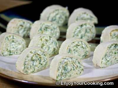 Tortilla Rolls with Fresh Cheese and Garlic
