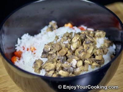 Shrimps, Mushroom and Rice Salad  Recipe: Step 7
