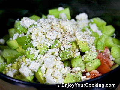 Raw Vegetable Salad with Feta Recipe: Step 7