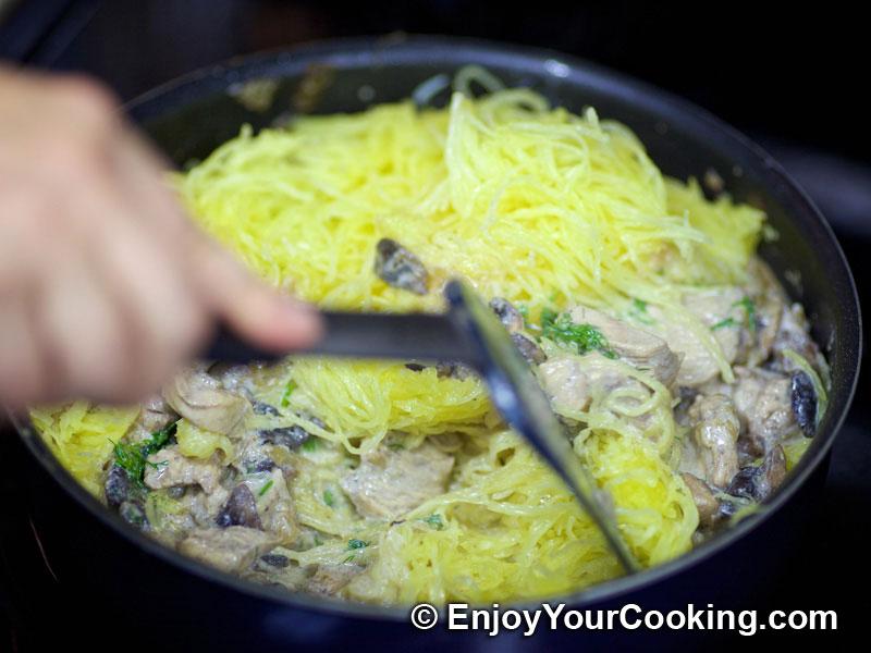 Spaghetti Squash With Chicken And Mushrooms Recipe My