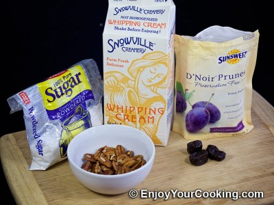 Pecan Stuffed Prunes with Whipped Cream: Step 1