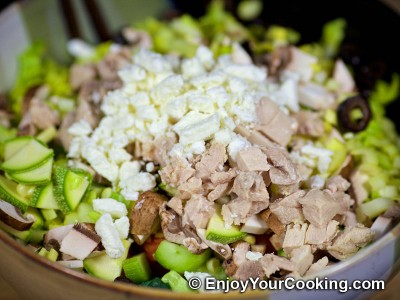 Raw Vegetables and Chicken Salad with Feta: Step 12