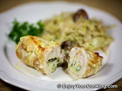 Baked Chicken Rolls with Cheese and Butter