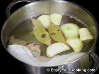 Add bay leaves and spices