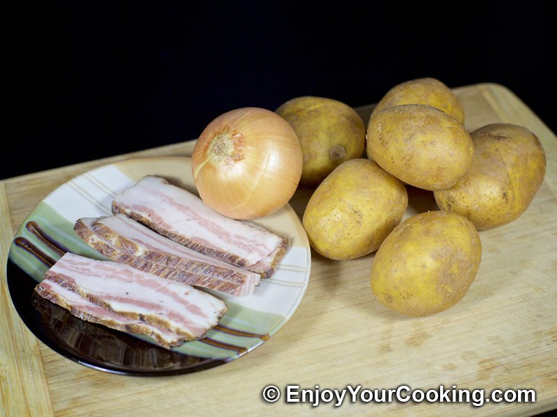 Prepare Ingredients Pan Fried Potatoes With Onion And Bacon Step 1