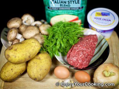 Beef Potato Mushroom Casserole: Step 1