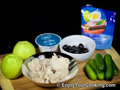 Apple and Cucumber Salad with Chicken: Step 1