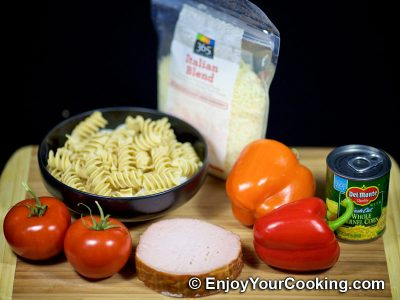 Noodle Salad with Canadian Bacon and Veggies: Step 1